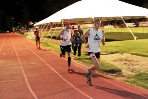 Picture of Yassine Diboun on the track at the finish of Western States 100
