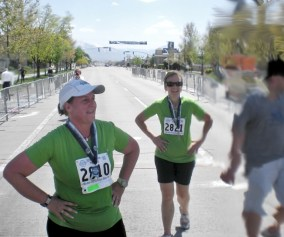 Picture of Craig Lloyd's mom finishing her first marathon DFL