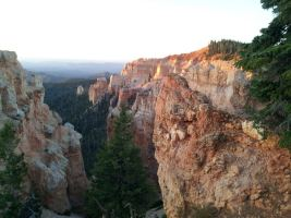 picture from red cliffs looking down canyon at bryce 100