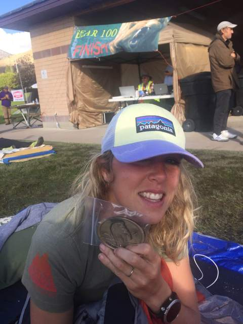 Chelsea Hathaway displays her buckle following the 2016 Bear 100