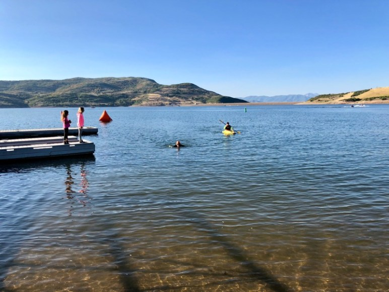 Finishing the swim at Utahs Toughest Triathlon