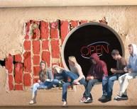 kids on wall open
