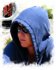 girl hoodie sitting