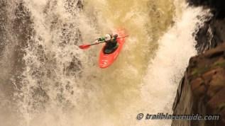 Dewet Michau running Thrombi Falls.