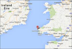 Googlekort, der viser hovedkvarteret for Pembrokeshire Coast Challenge