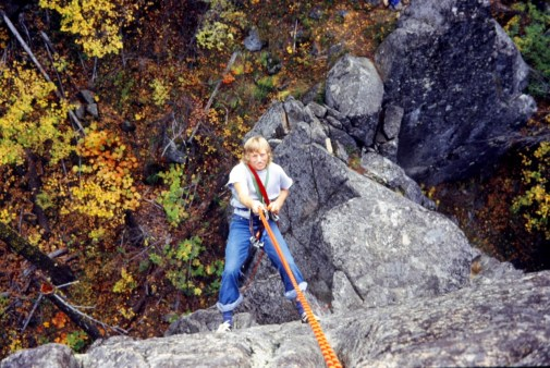 Oct 1978: Cecil Rappelling Down Tumwater Tower