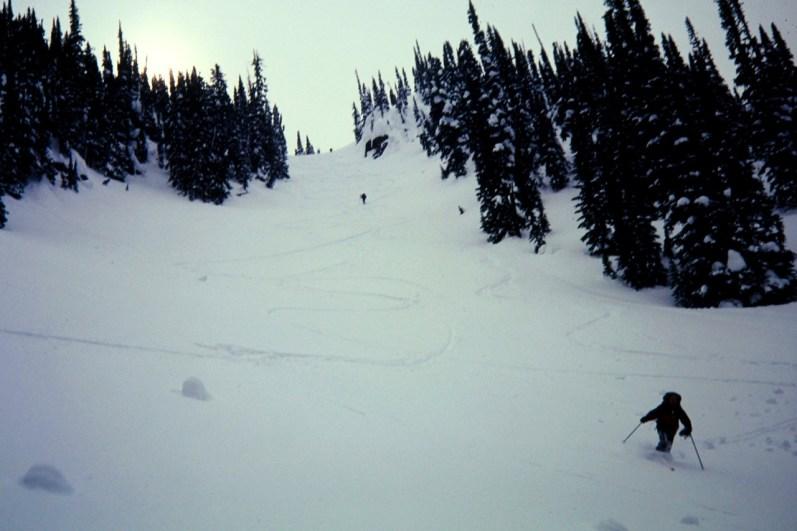Skiing Toward Discovery Cabin