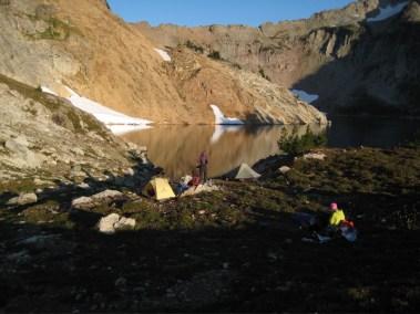 Morning camp at Circle Lake