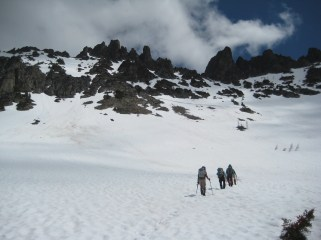 Traversing To WyEast Mountain Couloir