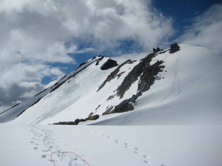 Up and Down Tracks On Summit Snowfield