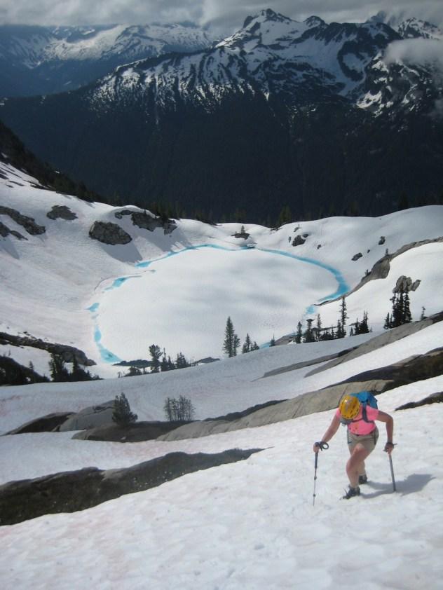 Eileen Climbing Above Blue Lake