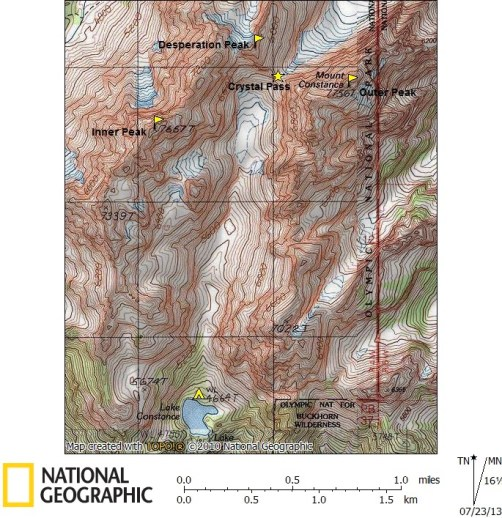 Topo Map Of Mount Constance Massif