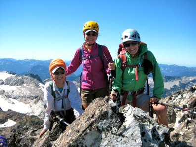 Fay, Eileen, and Lisa On Summit Chief Mountain