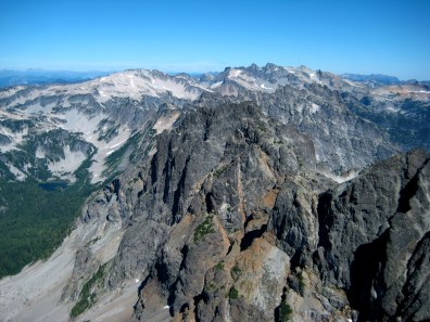 Mt Hinman and Mt Daniel From Summit Chief Mountain