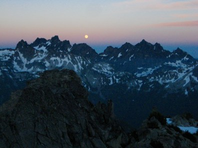 Moonrise Over Chimney Rock and Lemah Mountain