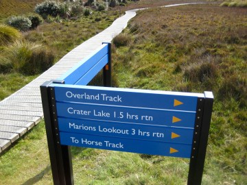 Trail Sign At Start Of Overland Track