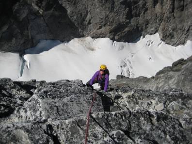 Eileen Climbing Second Summit Pitch Of Hard Mox Peak