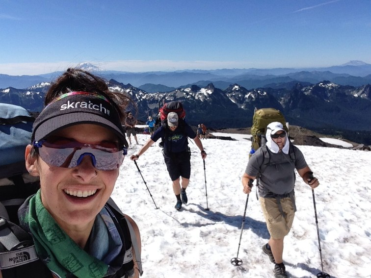 On our way up the Muir Snowfield with the Cascades out in full force behind us. What a beauty of a day!!