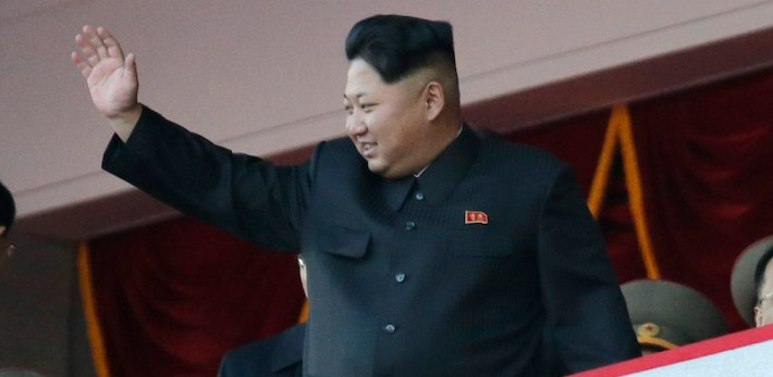 North Korean leader Kim Jong Un waves at a parade in Pyongyang, North Korea, Saturday, Oct. 10, 2015. North Korean leader Kim Jong Un declared Saturday that his country was ready to stand up to any threat posed by the United States as he spoke at a lavish military parade to mark the 70th anniversary of the North's ruling party and trumpet his third-generation leadership. (AP Photo/Wong Maye-E)