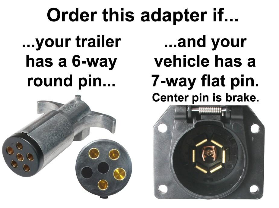 7-Way Flat Pin To 6-Way Round Pin Connector Adapter