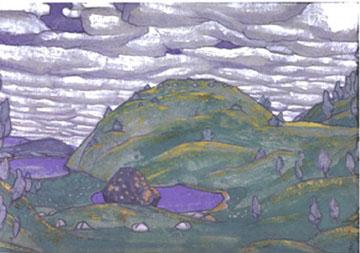 Décor for Act I of Le Sacre du Printemps by Nicholas Roerich