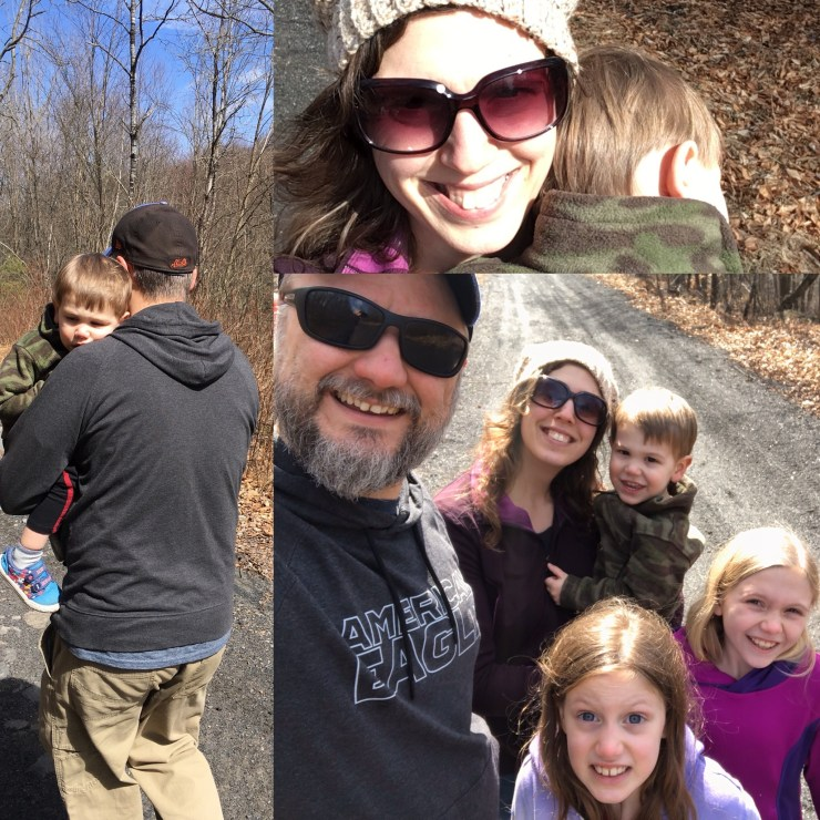 A collage of a family waking on a trail