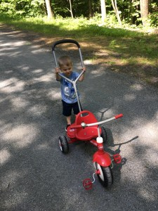 Little boy pushing a tricycle