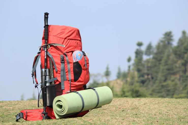selective focus photo of red hiking backpack on green grass
