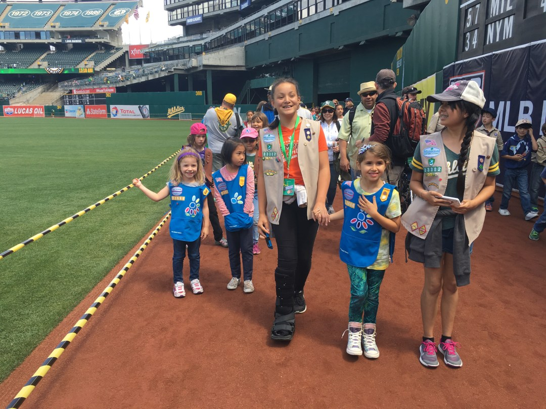 Girl Scouts at Oakland As Game