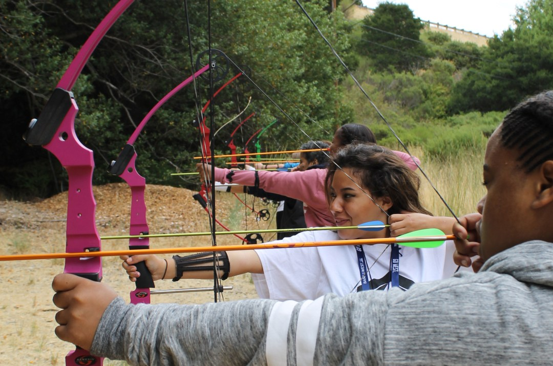 Girl Scouts at the Bothin archery range