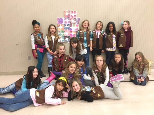 Liz's Brownie Troop with their Mural