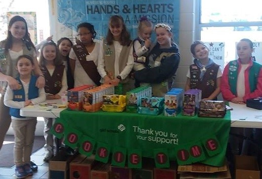 Cookie Booth at Girl Scout Sunday