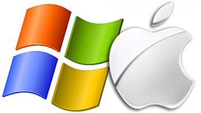 An image of the Microsoft and Apple logos to represent the new Microsoft Seeing AI app