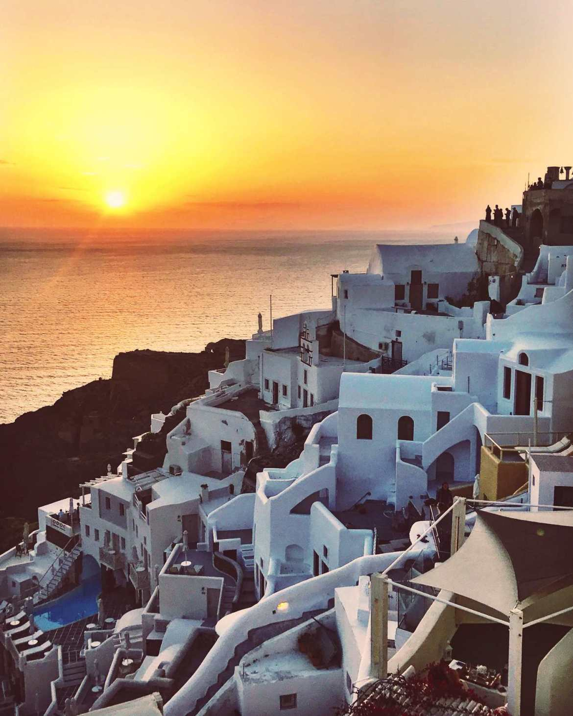 Stunning sunset in Santorini, Greece