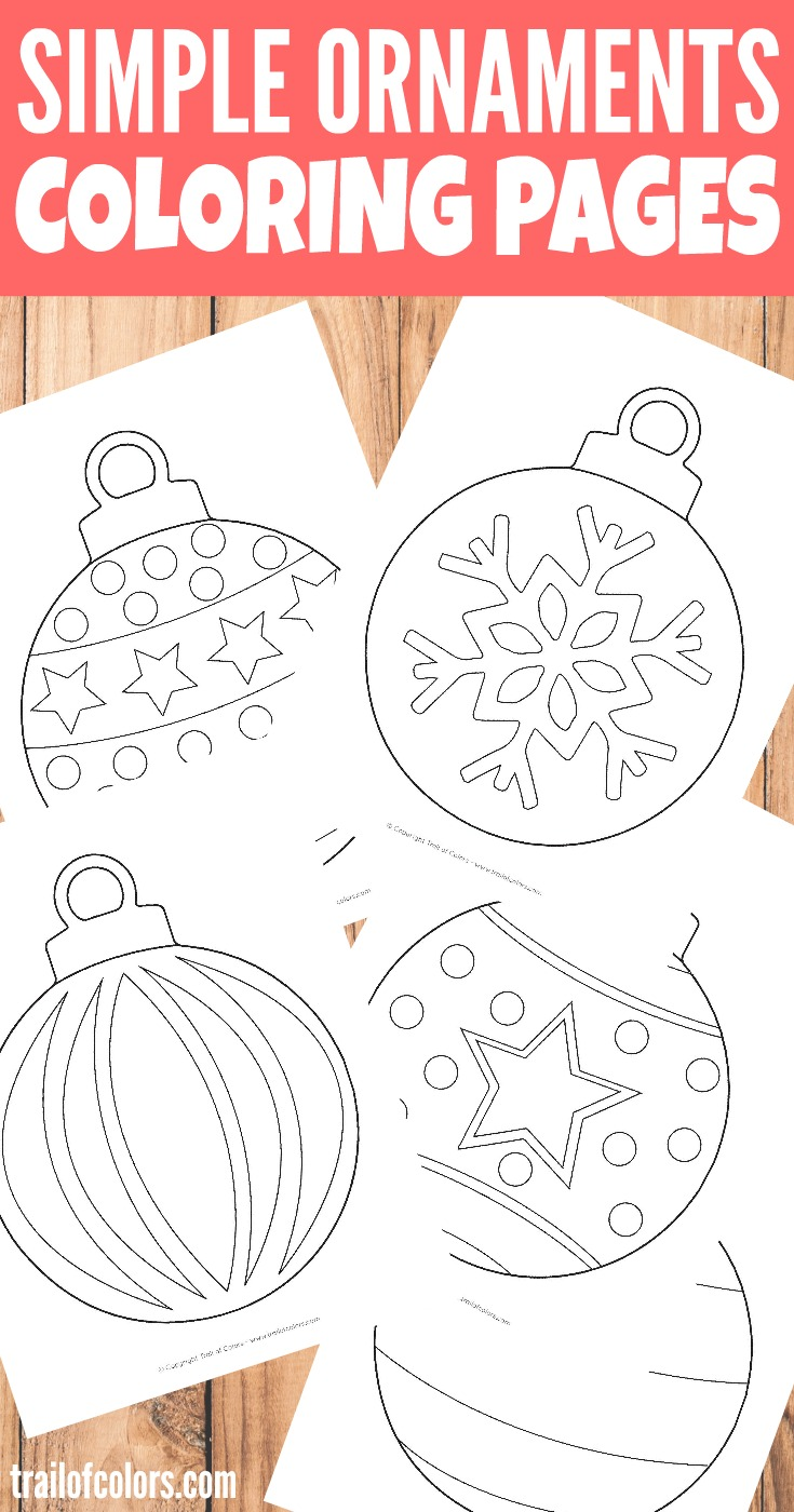 Simple Christmas Ornaments Coloring Page For Kids Trail