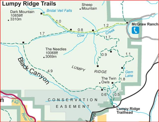 Map of Cow Creek Trail to Bridal Veil Falls, Rocky Mountain National Park,