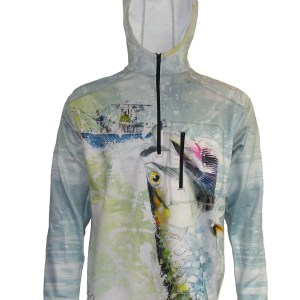 Tarpon Online 1/4-Zip FlexFleece Fish Adventure Hoodie brings the excitement of tight lines and breath taking adventure of a catching a hundred pound Tarpon