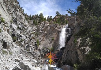 Agnes Vaille Falls cascades off the back side of Mount Princeton, into a narrow canyon