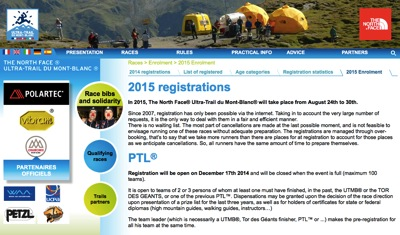 The North Face® Ultra Trail du Mont Blanc® 2015 registrations