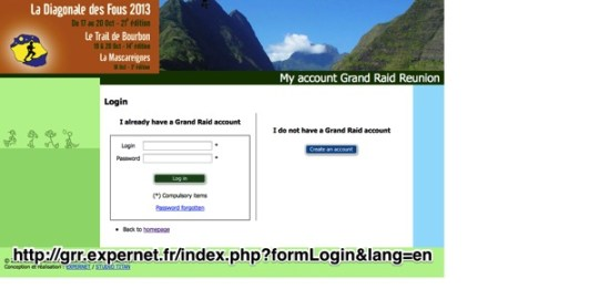 Authentification form Grand Raid Reunion My account Grand Raid Reunion