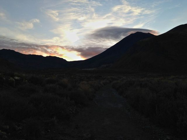 Mt Ngauruhoe clear sunrise.
