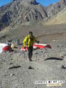 Kilian set off for the final summit after Plaza de Mulas.