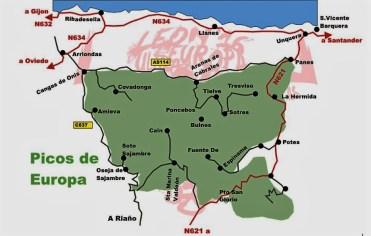 Picos de Europa mapa general localización