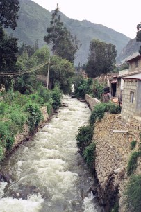 The Patakancha River running through town.
