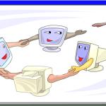 a circle of computers
