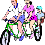 family enjoying a bike ride