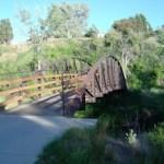 trail bridge over clear creek in colorado