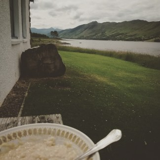 Porridge for breakfast and views over Loch Broom outside the cottage.