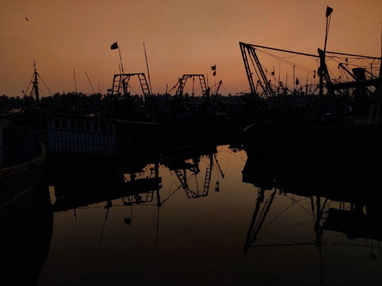 Sunset At A Boat Harbor In Udupi