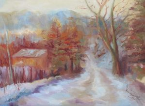 A painting of a winter scene with a path covered in snow.